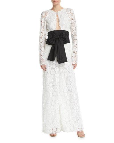 Lace Long-Sleeve Jumpsuit