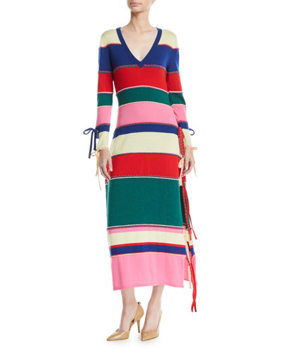 Ottomon-Stripe Knit Maxi Dress