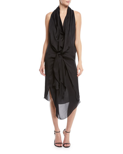 Sleeveless Tie-Front Silk Charmeuse Scarf Dress
