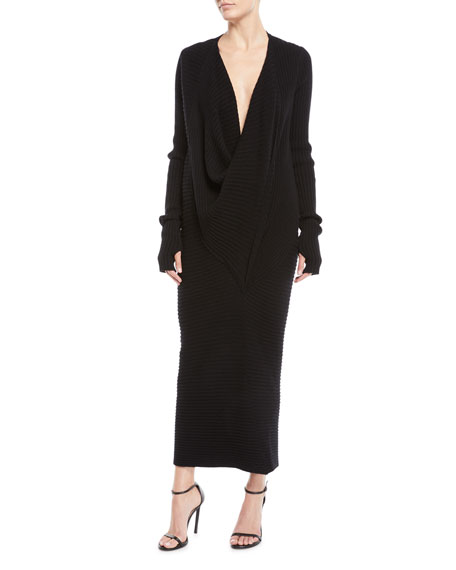 URBAN ZEN RIBBED COWL-NECK CASHMERE COCOON DRESS