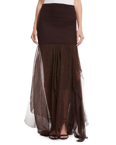 Elastic Waist Jersey Tulle Skirt
