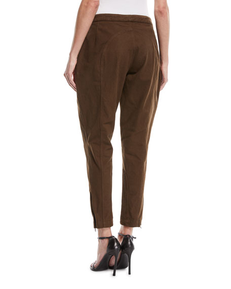 Washed Twill Slim-Fit Tapered-Leg Jodhpur Pants