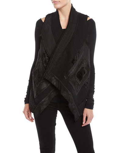 Draped-Front Patchwork Vest w/ Cropped Back