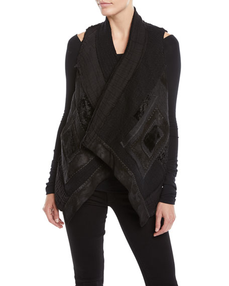 URBAN ZEN DRAPED-FRONT PATCHWORK VEST W/ CROPPED BACK