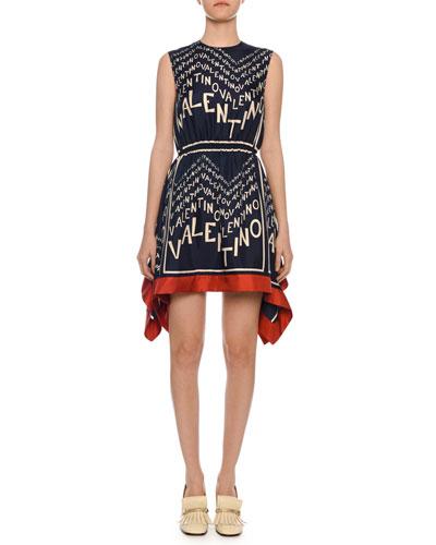 Sleeveless Logo Puzzle-Print Silk Twill Dress w/ Scarf Hem