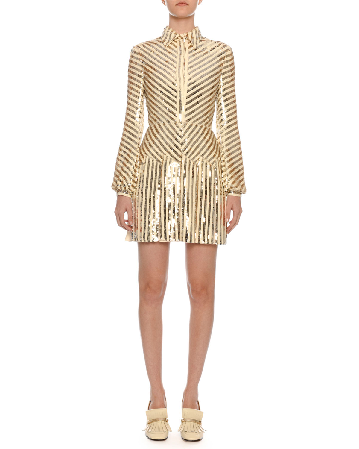 Valentino Long-Sleeve Paillette-Ribbon Embroidered Body-Con Mini Dress - what to wear to a new year's party