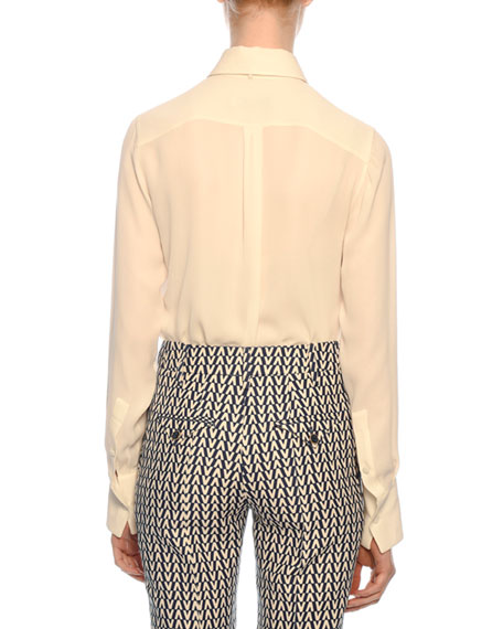 Tie-Neck Long-Sleeve Button-Front Silk Georgette Blouse