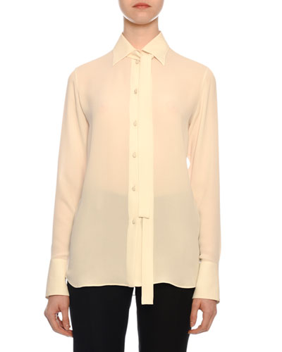 Tie-Neck Long-Sleeve Button-Front Silk Georgette Blouse
