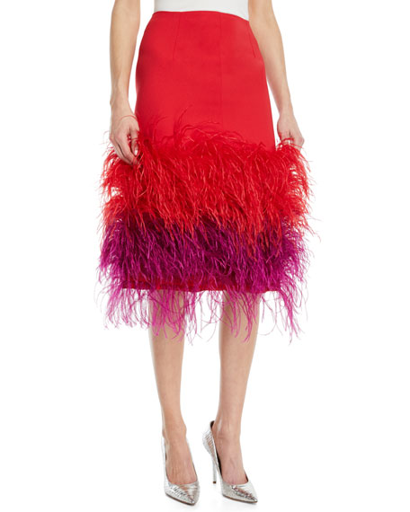 PRABAL GURUNG TWO-TONE FEATHER-HEM SILK COCKTAIL SKIRT