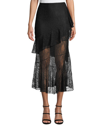 High-waist Fitted Lace Midi Skirt