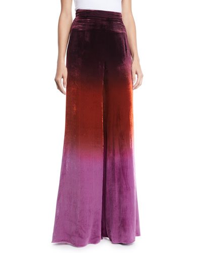 High-Waist Ombre Velvet Wide-Leg Pants