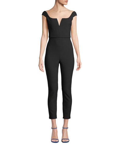 Boat-Neck Sleeveless Fitted Skinny-Leg Stretch-Jersey Jumpsuit