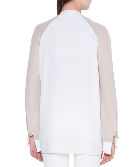 Long-Sleeve Colorblock Blouse with Detachable Cuffs