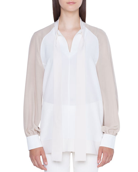 Image 1 of 1: Long-Sleeve Colorblock Blouse with Detachable Cuffs
