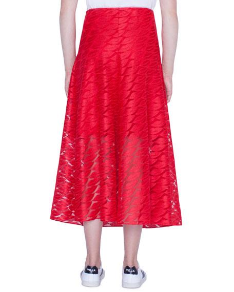 Long Lips Embroidery Skirt