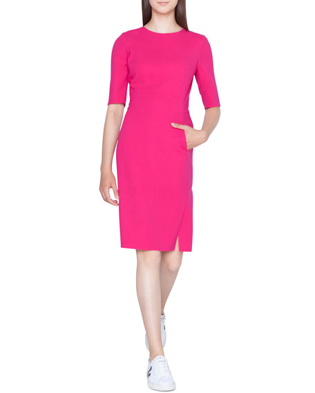 Akris Half-Sleeve Double-Face Wool Pencil Dress with Zip