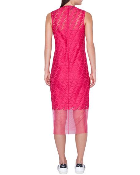 Lips-Embroidered Sleeveless Sheath Midi Dress w/ Slip