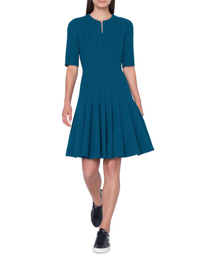 Elbow-Sleeve Zip-Front Pleated A-Line Wool Dress
