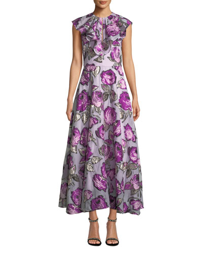 Ruffle-Front Sleeveless Metallic Rose Fil Coupe Tea-Length Dress