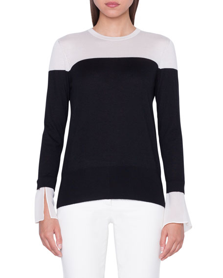 Akris COLORBLOCK PULLOVER SWEATER WITH DETACHABLE CUFFS