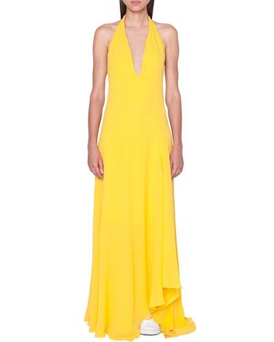 High-Low Silk Halter Gown Dress