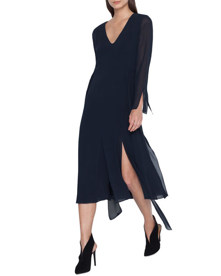 Long-Sleeve Silk Midi Car Wash Dress