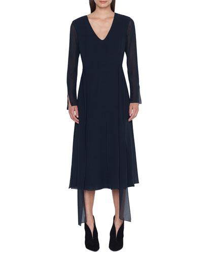 Long-Sleeve Silk Midi Car Wash Dress