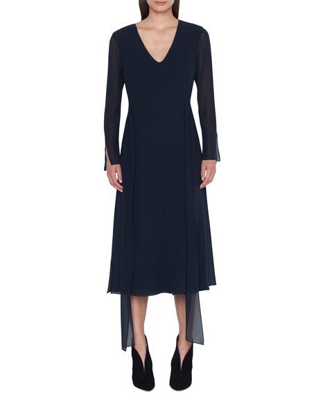 Akris Long-Sleeve Silk Midi Car Wash Dress