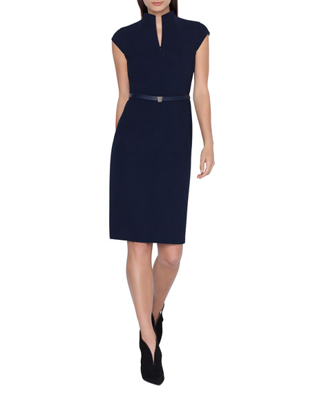 Belted Double-Face Wool Sheath Dress