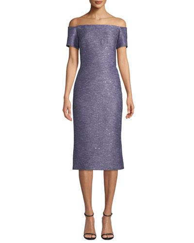 Off-the-Shoulder Sequin Tweed Cocktail Dress
