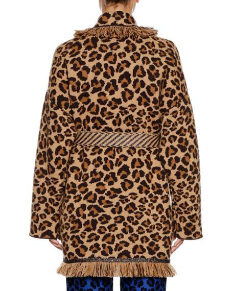 Self-Belt Leopard-Print Cashmere Cardigan w/ Metallic & Fringe Trim