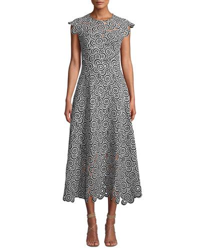 Circle-Lace Cap-Sleeve A-Line Midi Dress