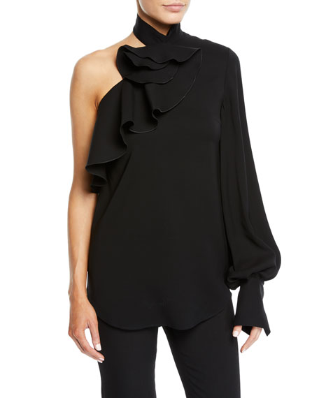 Oscar de la Renta One-Shoulder Long-Sleeve Ruffle Stretch-Wool