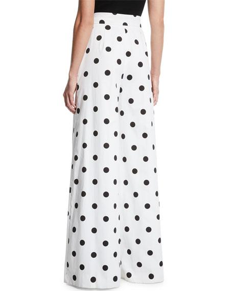 High-Waist Wide-Leg Polka-Dot Pants