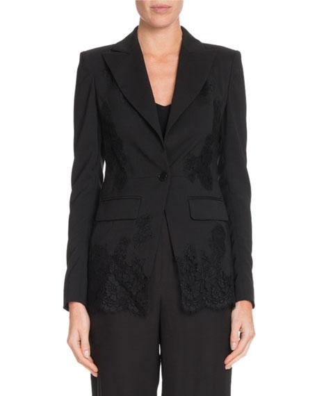 Altuzarra Tonal Lace One-Button Wool Blazer w/ Lace