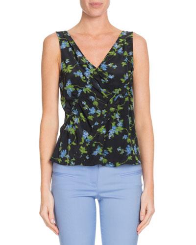 V-Neck Floral-Print Silk Top