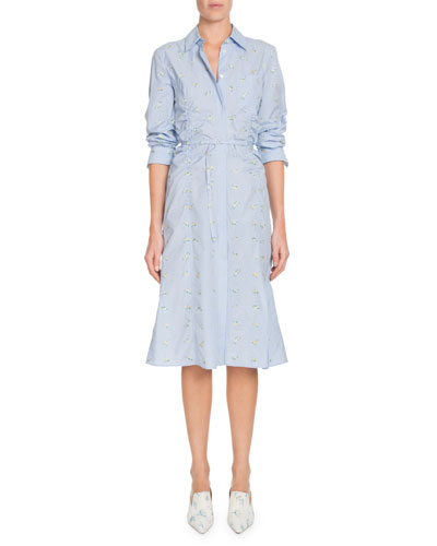Button-Front Long-Sleeve Cotton Dress