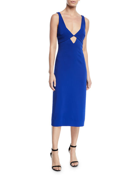 Image 1 of 1: V-Neck Cutout-Waist Stretch-Cady Midi Sheath Dress