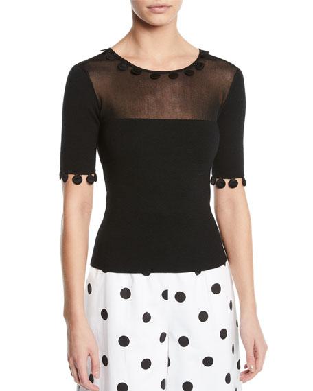 Oscar de la Renta Sheer-Yoke Dot-Trim Short-Sleeve Knit