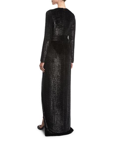 Long-Sleeve V-Neck Shimmery Velvet Gown