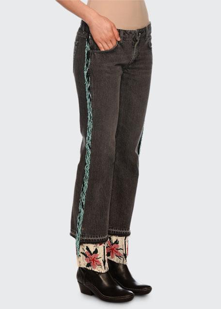 Fringe-Beads Flared-Leg Jeans