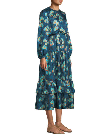 Augustina Long-Sleeve Leopard Orchid Print Silk Twill Long Dress