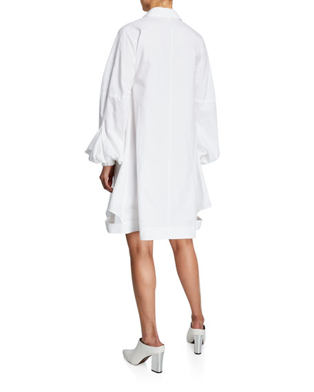 Puff-Sleeve Shirting Dress