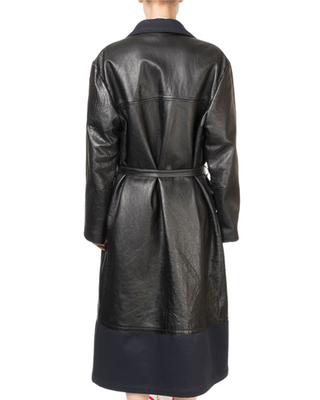 Layered Leather Button-Front Coat