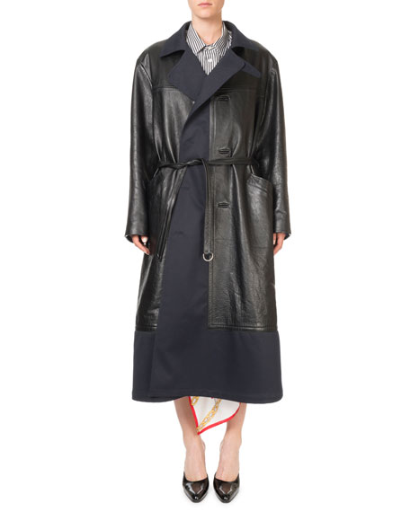 Image 1 of 1: Layered Leather Button-Front Coat