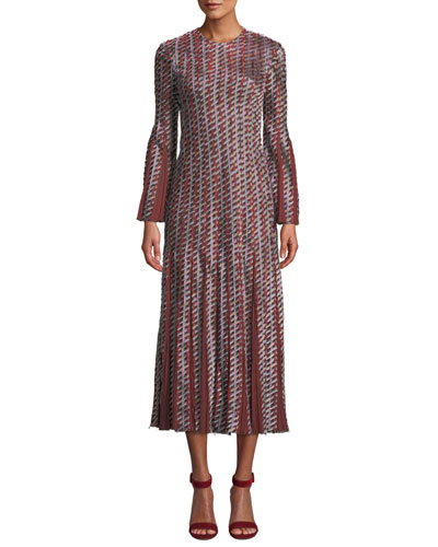 Long-Sleeve A-Line Pattered Pleated Godet Cocktail Dress