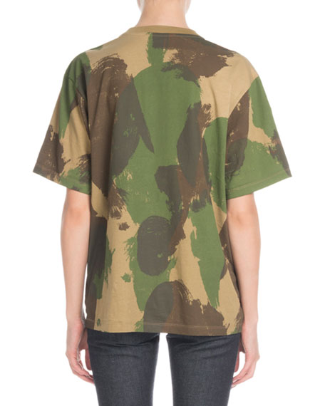Crewneck Short-Sleeve Camo-Print Cotton T-Shirt