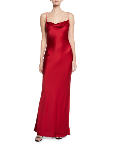 Satin Cowl-Neck Bias Cocktail Gown