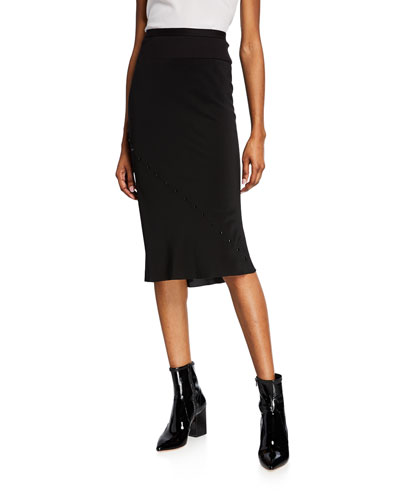 Cotton/Silk Pencil Skirt with Snap Details