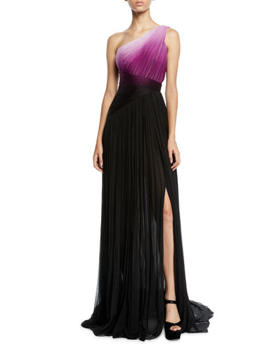 One-Shoulder Ombre Chiffon Gown